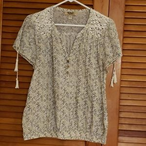 Nine West Chelsea Top with Lace and Tassels M